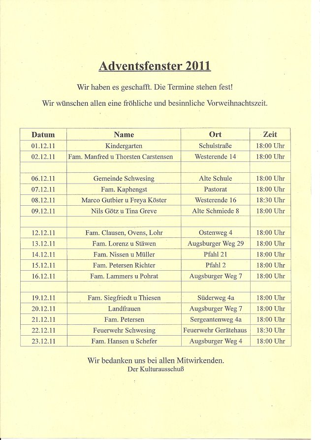 Adventsfenster 2011